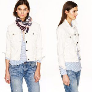 J. Crew Faded White Denim Button Jacket Sz XXS